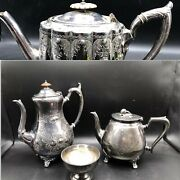 4x Antique C.1900 Thomas Otley And Others Silver Plated Tea/ Coffee Pots And Bowl