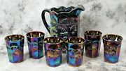 Vintage Mosser Amethyst Carnival Glass Cherry And Cable Pitcher + 6 Tumblers Htf
