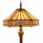 Floor Lamp W16h64 Inch Yellow Stained Glass Hexagon Mission Style Shade