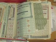 30 All Different Stock +bond Certificates Old Usa And Foreign Many Pre1950 Hon