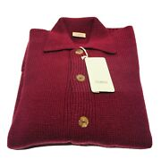 Malo 100 Cashmere Burgundy Red Men's Knit Button Cardigan Sweater