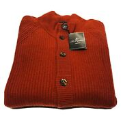 Les Copains 100 Cashmere Red Men's Buttoned Knit Cardigan Sweater