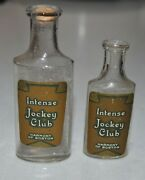 2 Antique Glass Embossed And Paper Label Bottles Intense Jockey Club Rexall Drugs