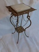 Antique Victorian Wrought Iron And Onyx Filigree Two Tier Plant Stand