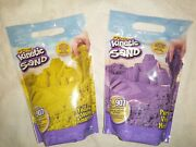 Kinetic Sand Yellow And Purple Lot Of 2 - 2 Lb Bags Natural Magical Flowing Sand