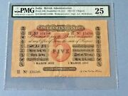 India/ British Administration 5 Rupees P-a6h 1922 Pmg 25 Staining, Toned