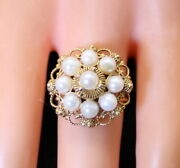 Gorgeous Unique 14k Gold Filigree Wire Wrap Ladies Cluster Pearl Ring S. 7.25