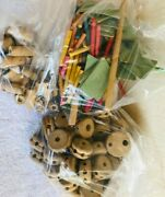 Vintage Tinker Toys With Playskool Wood Blocks Container Lot Of 264 Pcs