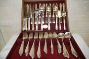 Holmes And Edwards Inlaid Is Lovely Lady Silverplate 98 Pc Flatware And Wood Box