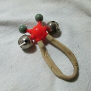 Vintage Celluloid And Metal Bell Baby Rattle Toy, Rubber Handle, Red, Green, White