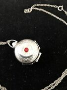 Vintage Rare Coro Silver Tone Hinged Locket Four Picture Red Rhinestone 1950andrsquos