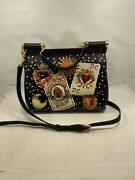 Authentic Dolce And Gabbana Black Medium Sicily Tote Crossbody Bag Cards Pattern