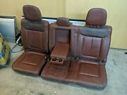 2011-2016 Ford F250 F350 King Ranch Rear Bench Seat Java Brown Leather Crew Cab