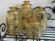 Vintage Canister Set Retro 70's Yellow Gold Amber Atterbury Scroll Le Smith Wow