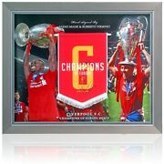 Manandeacute And Firmino Hand Signed Liverpool Pennant Champions League Winners Coa