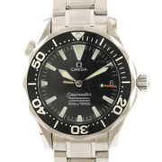 Omega Watches 2252.5 Silver Black Stainless Steel 300m Seamaster From Japan