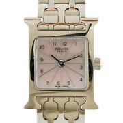Hermes Watches Hh1.110 Silver Pink Stainless Steel Pink Shell H Watch Mini