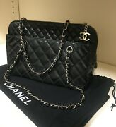 Black Quilted Patent Leather Bag W/silver Hardware