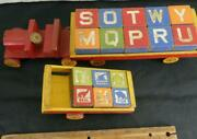 Set Of 16 Wooden Antique Alphabet And Animal Blocks W/ 2 Cars And Car Halsam Toys
