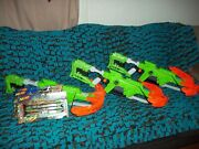 Lot Of 3 Nerf Zombie Strike Dreadbolt Crossbow's And W/ 3 Boxes Of New Arrows