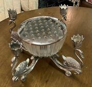 60s Vintage Centerpiece Flowers Frog Candle Holder Swans Silver Metal Glass Bowl