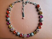 Mariana Crystal Mosaic Necklace In Fiery Reds Orange Coral Amber