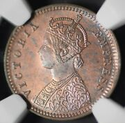India British 1899c 1/12 Anna Ngc Ms63rb Certified