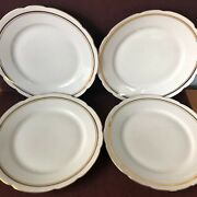 """4 Dinner Plates Cmielow Rimmed Scalloped Edge Poland 9"""" Vintage White With Gold"""
