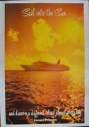 Cunard Cruise Lines Sail Into The Sun 1984 Travel Tourism Poster 24x37 Linen Nm
