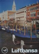 Lufthansa Airlines Italy Venice 1974 Vintage A1 Travel Poster Nm