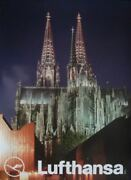 Lufthansa Airlines Germany 1974 Vintage A1 Travel Poster Koln Cathedral Nm