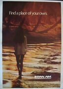 Pan Am Airways Airlines Find A Place Vintage Travel Poster 1972 Linen 28x42 Nm