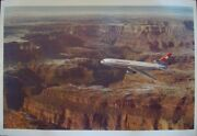 Swissair Dc10 Grand Canyon Vintage 1972 Poster Airlines 25x40 Nm Linen Rare