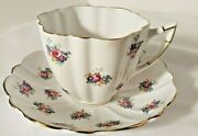Victoria C And E England Cabbage Roses Cup And Saucer Bone China Vtg Fluted