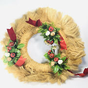 Vintage Christmas Wreath Rope 3 Plastic Fruit And Greenery