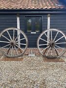 Vintage Pair Of Old Wooden Cart Wagon Wheels