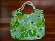 Clinique Tote Bag Green Flowers Floral Makeup Travel Cosmetic Rope Handles Large
