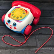 Vintage 2000 Mattel Fisher Price Chatter Phone Pull Along Toy Telephone Classic