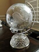 """Retired Waterford Crystal 11.5"""" Small World Globe Centerpiece"""