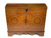 C. 1750 Antique German Colonial Immigrant Chest Dome Top Trunk Blanket Chest