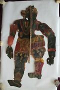 Indian Leather Shadow Puppet Folk Art Collectible Antique Vintage Art