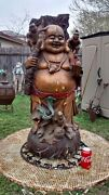 Spectacular Antique Chinese Carved Wood Large Laughing Buddha - Make Offer