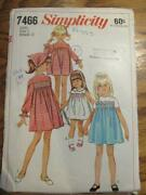 Vtg 1967 Simplicity Sewing Pattern 7466 Smocking Childs Dress And Scarf Sz 2