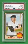 1968 Topps 280 Mickey Mantle Centered Strong Psa Ex-mt 6 New York Yankees