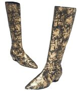 Black Gold Laminated Goatskin Leather Cc Knee High Boot-in 36 37 And 39