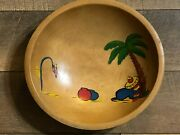 Vintage Woodcroftery Wooden Bowl Sand Painted Mexican Siesta Scene Mid Century