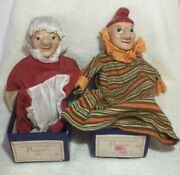 Antique Pair Paper And Wood Hand Puppet Punch And Judy, Madame Alexander W/orig Box