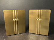 Pair Of Antique Roycroft Arts And Crafts Mission Craftsman Style Brass Bookends