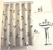 Kate Spade Willow Court Fabric Shower Curtain 72 X 72andrdquo Floral Gray Blue Green