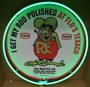 Rat Fink Neon Sign / Route 66 Sign / Texaco Neon Sign / Texaco Signs / Gas And Oil